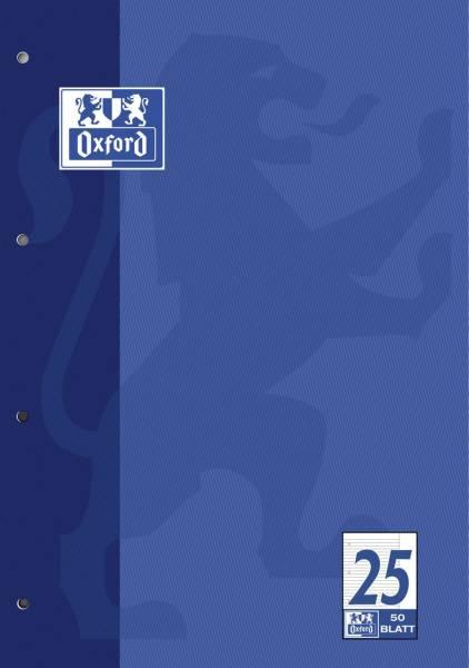 Schulblock Lin 25 A4, 50 Blatt, 90 g qm, 4 fach Lochung