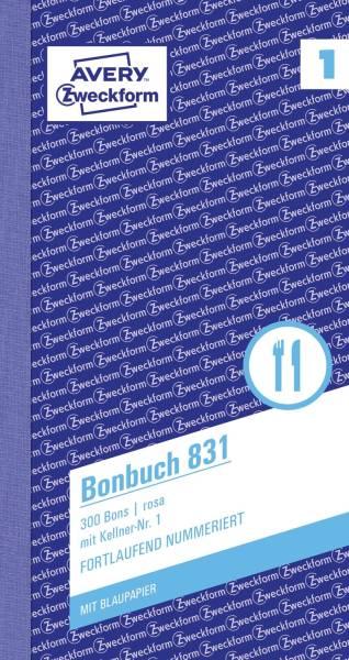 831 Bonbuch, Kompaktblock, mit Kellner Nr , 2 x 50 Blatt, rosa