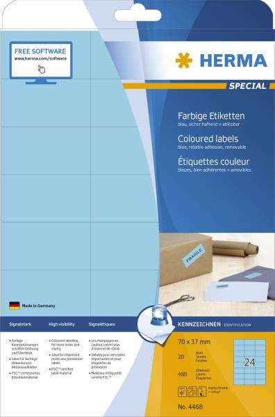HERMA Universaletiketten 70x37mm blau 4468 SuperPrint 480 Stück ablösbar