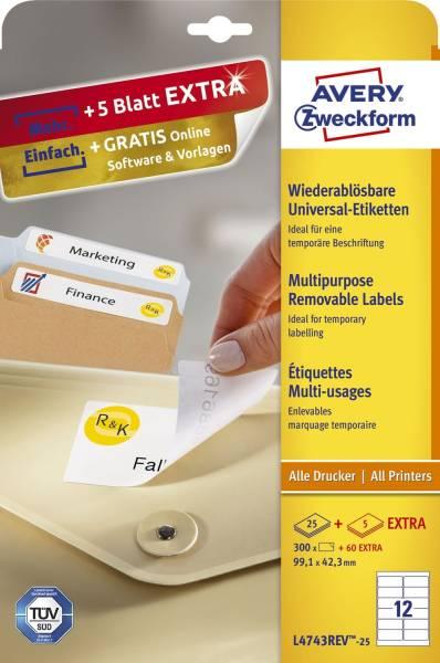 L4743REV 25 Universal Etiketten 99,1 x 42,3 mm, weiß, 360 Etiketten 30 Blatt, wiederablösbar