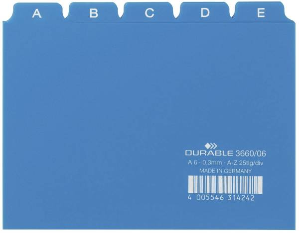 Leitregister A Z DIN A6 quer, blau