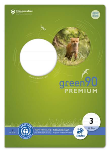 STAUFEN GREEN Heft LIN3 A4 16 Blatt 21 Doppellinien 040782003 90g