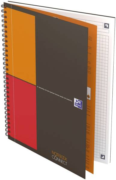 Notebook Connect Collegeblock, B5, kariert, 80 Blatt, Hardcover, 4 Eckmarkierungen zum scannen