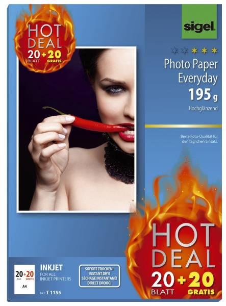 InkJet Everyday Photo Papier A4, hochglänzend, 195 g qm, 20+20 Blatt
