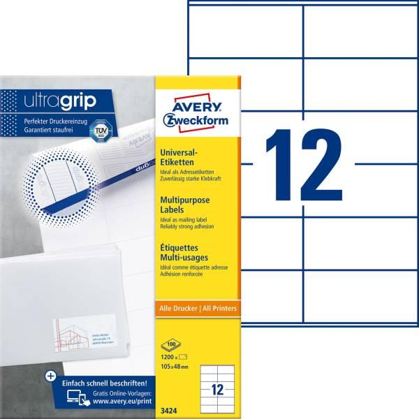 3424 Universal Etiketten (A4, Papier matt, 1 200 Etiketten, 105 x 48 mm) 100 Blatt weiß