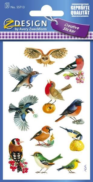 Z Design 55713, Deko Sticker, Vögel, 3 Bogen 33 Sticker