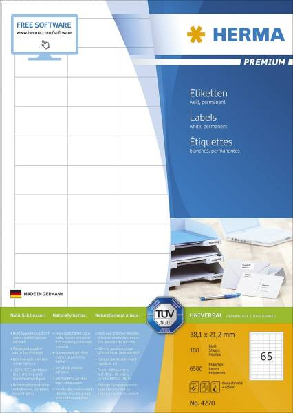4270 Etiketten Premium A4, weiß 38,1x21,2 mm Papier matt 6500 St