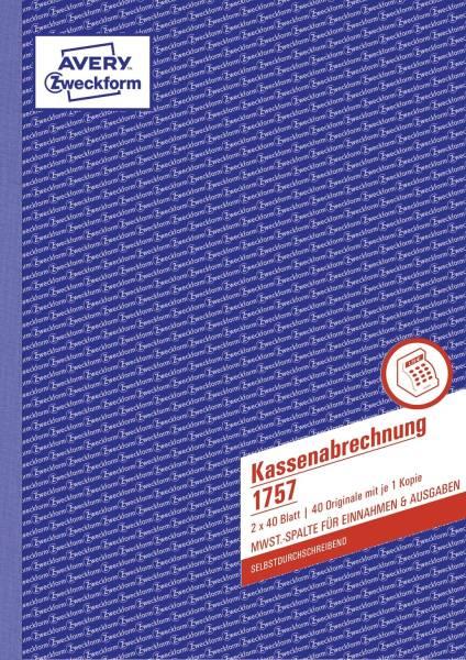 1757 Kassenabrechnung, 1 & 2 Bl bedr MwSt Spalte Ein Ausgaben, SD, DIN A4, 2x40Bl