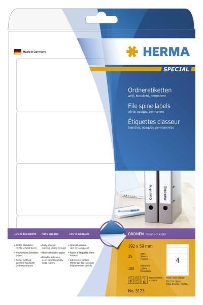 HERMA Ordneretiketten 59x192mm sk weiß 5123 breit/kurz permanent haftend