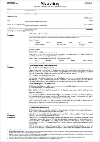 SIGEL Mietvertrag A4 Einheitsmiete MV466 6seitig m.Hausord