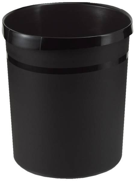 Papierkorb GRIP, 18 Liter, rund, 2 Griffmulden, extra stabil, schwarz