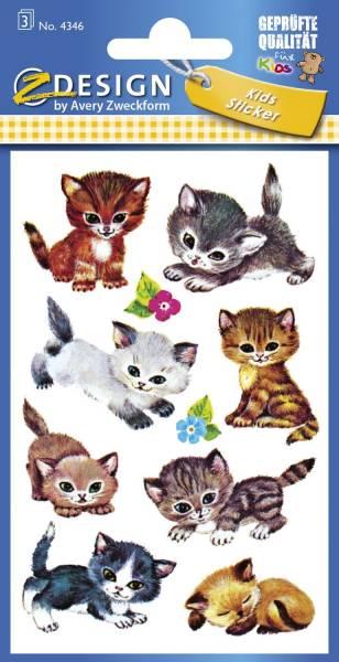 Z Design 4346, Kinder Sticker, Katzen, 3 Bogen 30 Sticker