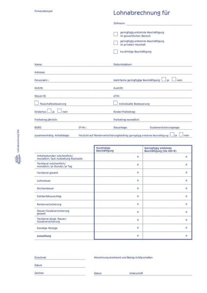 506 Lohnabrechnung für geringf Beschäftigte, DIN A4, vorgelocht, 50 Blatt 10 Stück, weiß