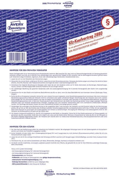 2880 Kaufvertrag gebrauchtes Kfz, DIN A4, selbstdurchschreibend, blau