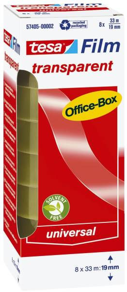 Klebefilm Office Box transparent 8 St , Bandgröße (L x B): 33 m x 19 mm