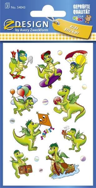 Z Design 54043, Kinder Sticker, Drachen, 3 Bogen 27 Sticker