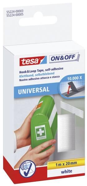 TESA Klettband on+off weiß 1m - 20mm 55224-00003-01 SK