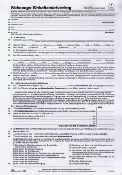 Wohnungs Einheitsmietvertrag, 4 Seiten, gefalzt auf DIN A4 + Wohnungsgeberbescheinigung