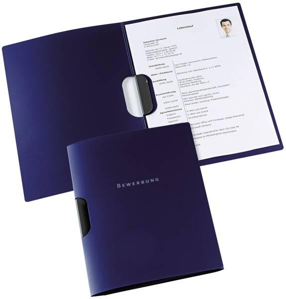 Bewerbungsmappe job basic clip fix PP 0,5 mm, 30 Blatt A4, dunkelblau