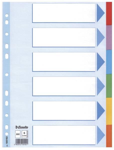 Register blanko, Karton, A4, 6 Blatt, weiß, farbige Taben