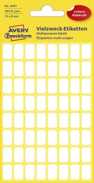 3041 Mini Organisations Etiketten, 13 x 8 mm, 6 Blatt 384 Etiketten, weiß