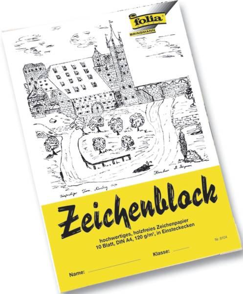 Zeichenblock mit Leinenecken 120g qm, DIN A4, 10 Blatt