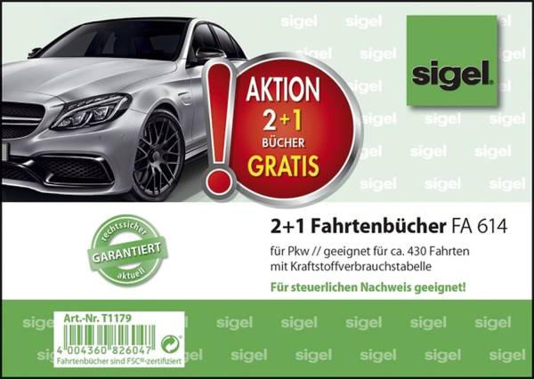 SIGEL Fahrtenbuch A6 40BL für PKW 3ST T1179 2+1 (gratis) Aktion