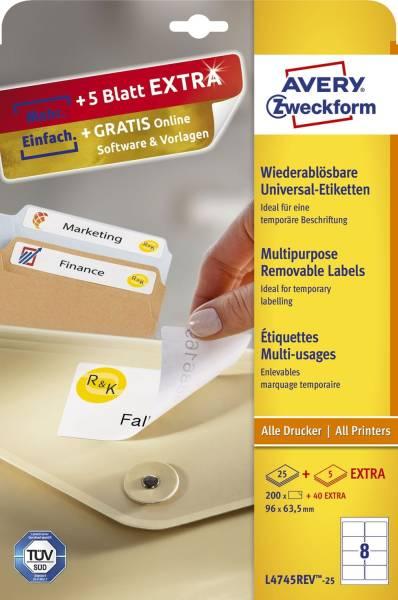 L4745REV 25 Universal Etiketten, 96 x 63,5 mm, 30 Bogen 240 Etiketten, weiß