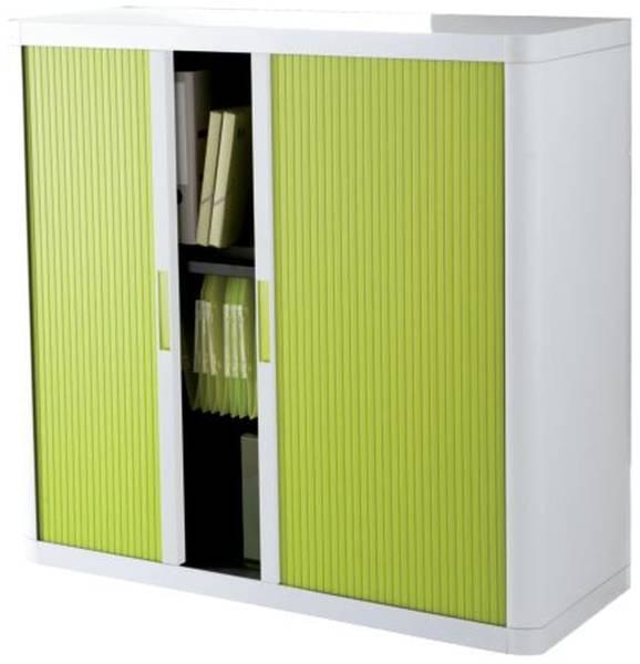 Rolladenschrank easyOffice 1 Meter Schrank, inkl 2 Fachböden, weiß grün