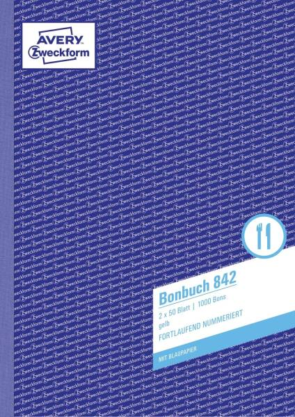 842 Bonbuch, DIN A4, fortlaufend nummeriert, 2 x 50 Blatt, gelb, weiß