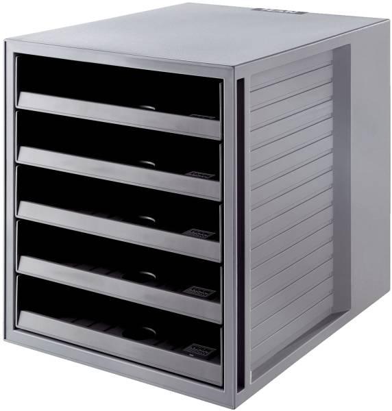 Schubladenbox SCHRANK SET KARMA A4 C4, 5 offene Schubladen, öko grau