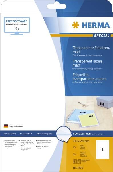4375 Etiketten transparent matt A4 210x297 mm Folie 25 St