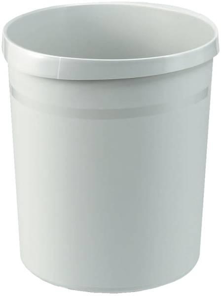 Papierkorb GRIP, 18 Liter, rund, 2 Griffmulden, extra stabil, lichtgrau