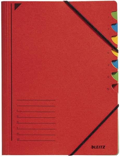 3907 Ordnungsmappe 7 Fächer, A4, Pendarec Karton (RC), 430 g qm, rot