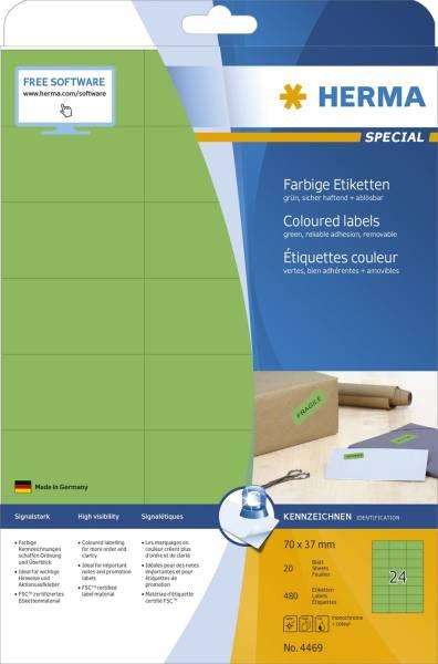 HERMA Universaletiketten 70x37mm grün ablösbar 4469 SuperPrint 480 Stück