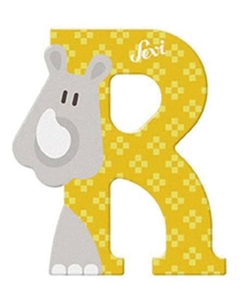 "Tierbuchstaben ""R Rhinozeros"" 10 cm, Holz"