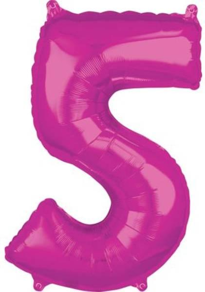 Folienballon Zahl 5 rosa 662001 66x45cm