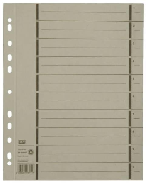 Trennblätter mit Perforation A4 Überbreite, grau, 100 Stück