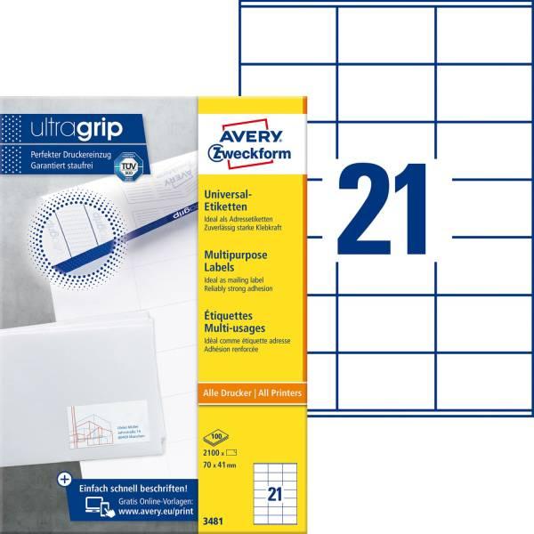 3481 Universal Etiketten 70 x 41 mm, weiß, 2 100 Etiketten 100 Blatt, permanent