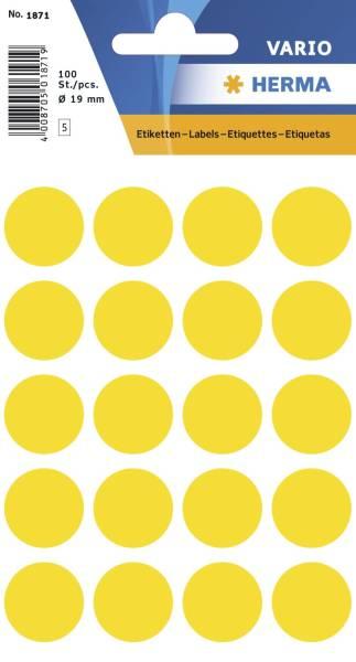 HERMA Etiketten Ø19mm gelb 1871 100 Stück permanent haftend