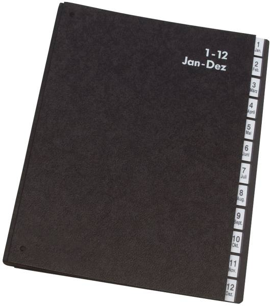 Pultordner Hartpappe 1 12, 12 Fächer, Farbe schwarz
