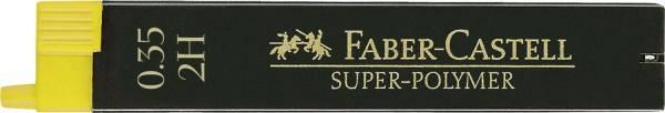 Feinmine SUPER POLYMER, 0,35 mm, 2H, tiefschwarz, 12 Minen