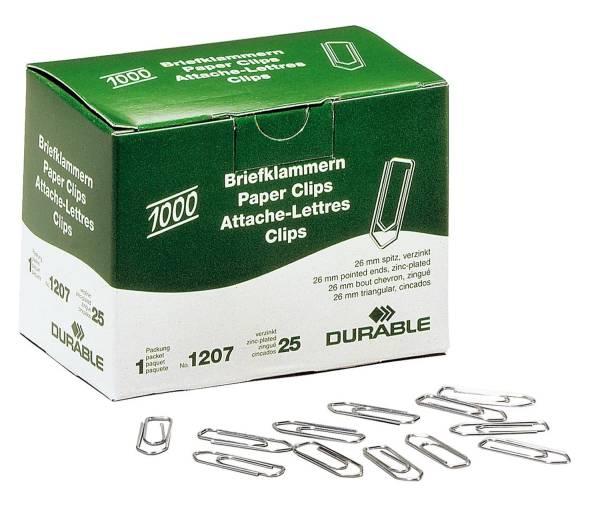 Briefklammer, Metall, 26 mm, verzinkt, Schachtel mit 1000 Stück