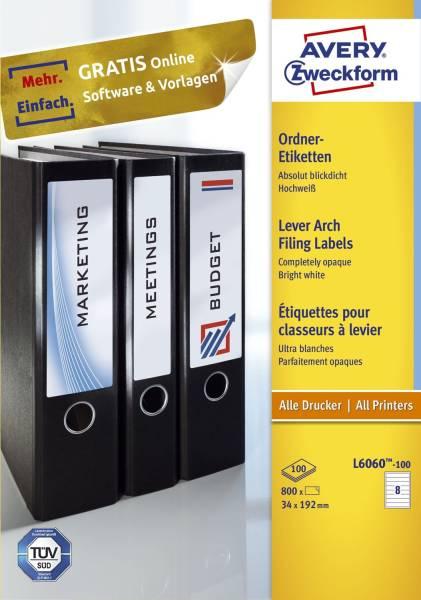 L6060 100 Ordner Etiketten schmal kurz, (A4 100 Blatt) 800 Stück, weiß