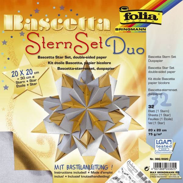 FOLIA Bascetta-Stern silber/gold 366/2020 20x20cm 32Bl