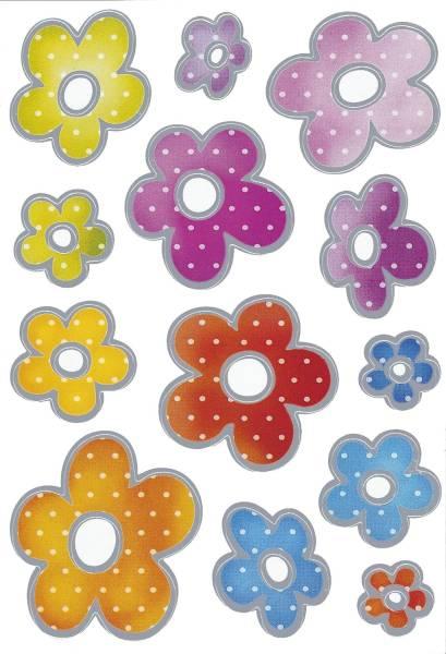 3332 Sticker DECOR Blumen Silberprägung